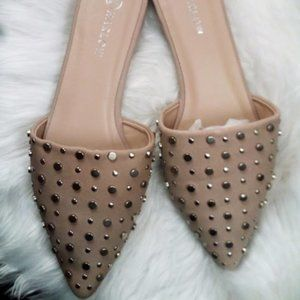 New Harlow Pink Faux Leather Stud Flat Mule Size 9